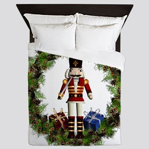 Red Nutcracker Wreath Queen Duvet
