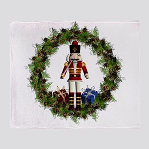 Red Nutcracker Wreath Throw Blanket
