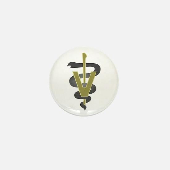 Veterinary Caduceus Mini Button