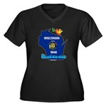 ILY Wisconsin Women's Plus Size V-Neck Dark T-Shir
