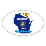ILY Wisconsin Sticker (Oval 10 pk)