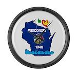 ILY Wisconsin Large Wall Clock