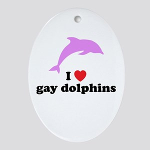 Gay Dolphins Ornament (Oval)
