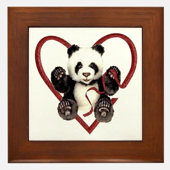 China Panda Love Framed Tile