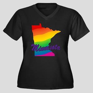 Gay Pride Rainbow Minnesota Women's Plus Size V-Ne