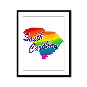 Gay Pride Rainbow South Carolina Framed Panel Prin