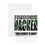 famous hacker funny slogan Greeting Cards