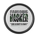 famous hacker funny slogan Large Wall Clock