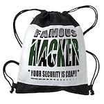 famous hacker funny slogan Drawstring Bag
