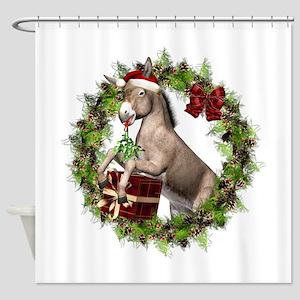 Christmas Donkey Wearing Santa Hat Shower Curtain