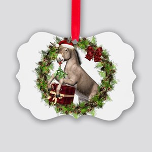 Christmas Donkey Wearing Santa Ha Picture Ornament