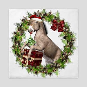 Christmas Donkey Wearing Santa Hat in Queen Duvet