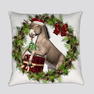 Christmas Donkey Wearing Santa Hat Everyday Pillow