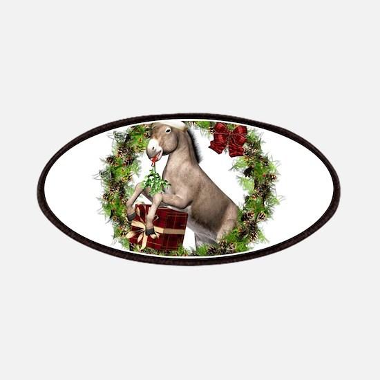 Christmas Donkey Wearing Santa Hat in Wreath Patch