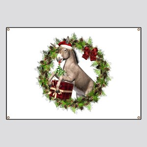 Christmas Donkey Wearing Santa Hat in Wreat Banner