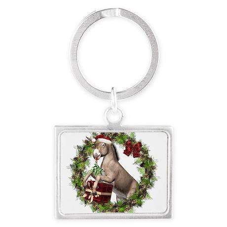 Donkey Santa Hat Inside Wreath Keychains