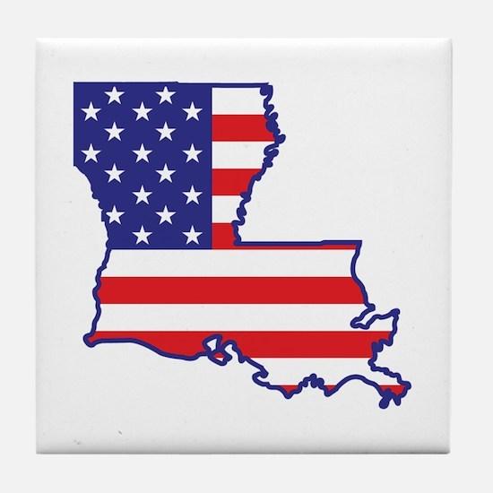 LA USA Flag Map 1 Tile Coaster