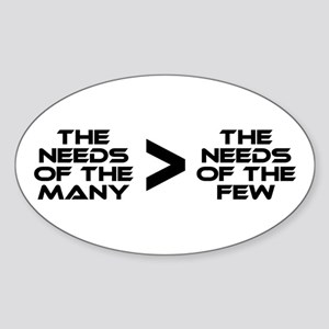 Spock: The Needs of the Many Sticker (Oval)