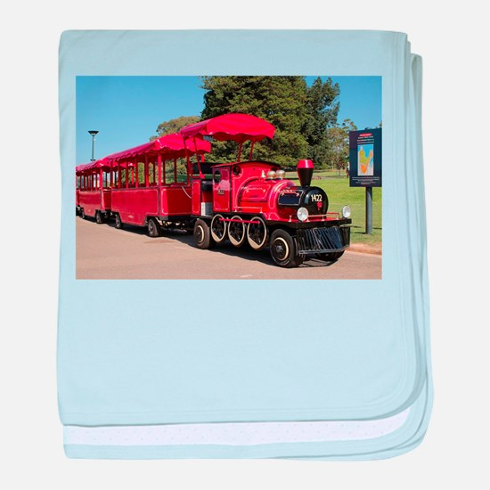 Red Tourist Train baby blanket