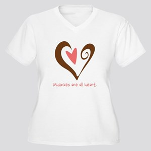 Midwives All Heart - Brown Women's Plus Size V-Nec