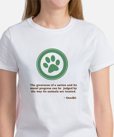 Gandhi Green Paw Women's T-Shirt