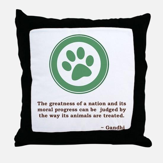 Gandhi Green Paw Throw Pillow