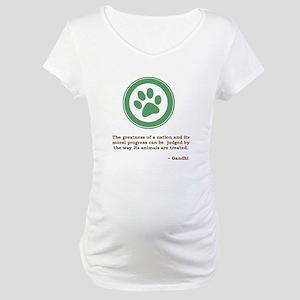 Gandhi Green Paw Maternity T-Shirt