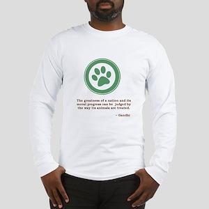 Gandhi Green Paw Long Sleeve T-Shirt