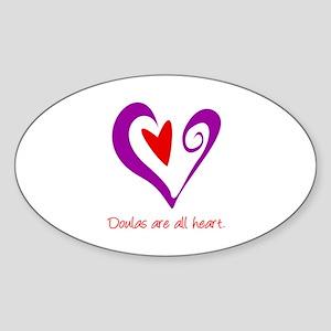 Doulas All Heart Purple Sticker (Oval)