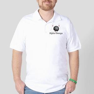 Apha Omega Logo 1 Golf Shirt Design Front Pocket a
