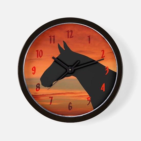 Horse Sunset Portrait Wall Clock