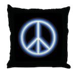 Blue Peace Symbol Throw Pillow