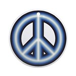 Blue Peace Symbol Round Ornament