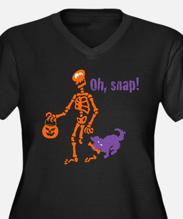 Oh, Snap Skeleton Women's Plus Size V-Neck Dark T-