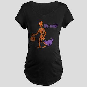 Oh, Snap Skeleton Maternity Dark T-Shirt