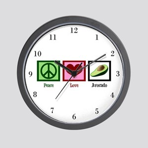 Peace Love Avocado Wall Clock