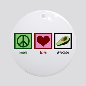 Peace Love Avocado Ornament (Round)