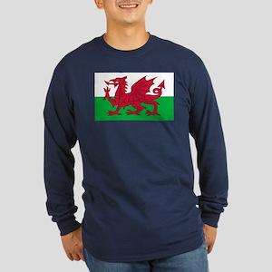 Welsh Flag Long Sleeve Dark T-Shirt
