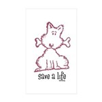 dog & bone Sticker (Rectangle 10 pk)