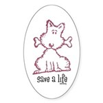dog & bone Sticker (Oval 10 pk)