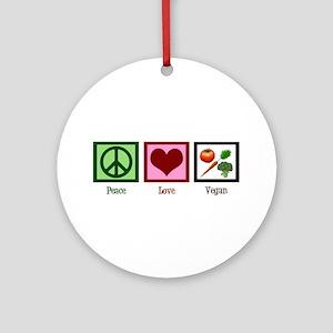 Peace Love Vegan Ornament (Round)