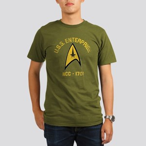 U.S.S. Enterprise Retro Organic Men's T-Shirt (dar