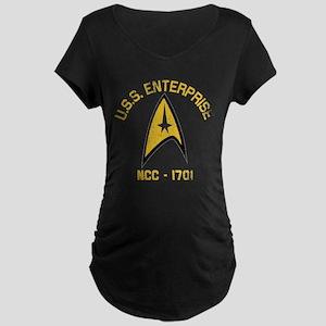 U.S.S. Enterprise Retro Maternity Dark T-Shirt