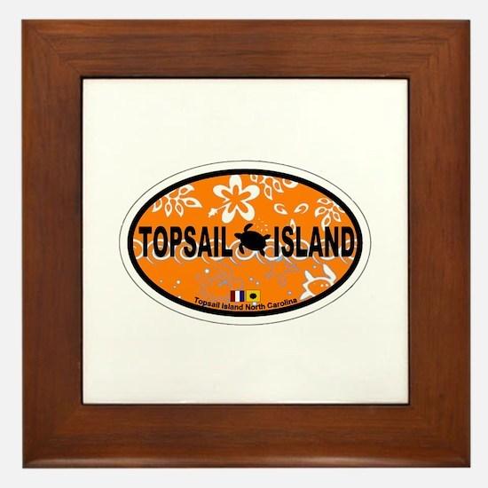 Topsail Island NC - Oval Design Framed Tile