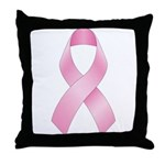 Pink Ribbon Breast Cancer Throw Pillow