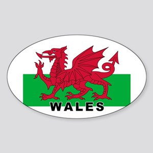 Welsh Flag (labeled) Sticker (Oval)