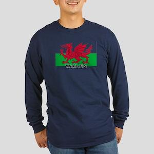 Welsh Flag (labeled) Long Sleeve Dark T-Shirt