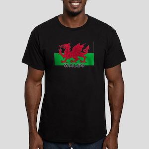 Welsh Flag (labeled) Men's Fitted T-Shirt (dark)