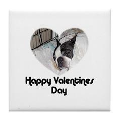 HAPPY VALENTINES DAY (BOSTON TERRIER) Tile Coaster