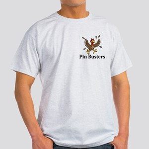 Pin Busters Logo 14 Light T-Shirt Design Front Poc